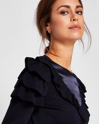 Ted Baker - Satin Contrast Ruffle Sweater - Lyst