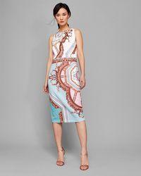 Ted Baker - Versailles Pearl Neck Midi Dress - Lyst