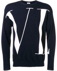 Valentino - Vltn Crew Neck Sweater In Cotton - Lyst