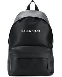 Balenciaga - Logo Print Leather Backpack - Lyst