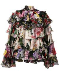 2ee7abc1b88764 Dolce   Gabbana - Tiered Floral Blouse - Lyst