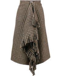 Balenciaga - Prince Of Wales Fringe Skirt - Lyst
