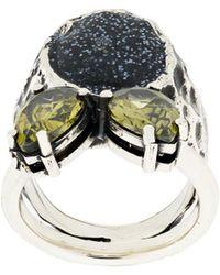 Voodoo Jewels - Sigillum Silver Ring With Black Glitter Drops - Lyst