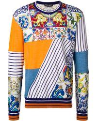 Dolce & Gabbana - Maiolica Printed Cashmere And Silk Sweater - Lyst