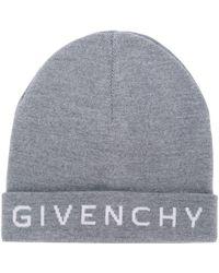 Givenchy - Grey Wool Logo Beanie - Lyst