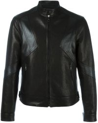 Neil Barrett - Geometric Panelled Leather Jacket - Lyst