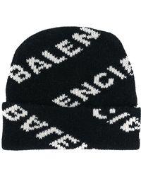 Balenciaga - Logo Print Wool Hat - Lyst
