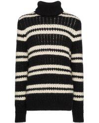 Saint Laurent - Crewneck Sweater With Stripes - Lyst