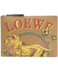 Loewe - Lion Print Clutch - Lyst