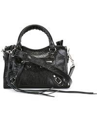 75e21ebab5 Balenciaga City Classic Leather Shoulder Bag in Purple - Lyst