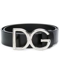 Dolce & Gabbana - Leather Belt With Logo - Lyst