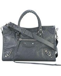 9933f9d72c Lyst - Balenciaga Classic Mini Pompon Leather Shoulder Bag in Gray