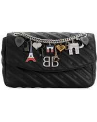 Balenciaga - Medium Bb Round Matelasse Handbag All Over Logo - Lyst