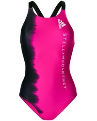 adidas By Stella McCartney - Black And Fucsia Faded Swimsuit - Lyst