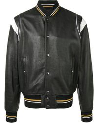 080b7378e Schott Nyc Appliquéd Leather And Wool Bomber Jacket in Black for Men ...