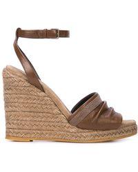 Brunello Cucinelli - Wedge Leather Sandals - Lyst