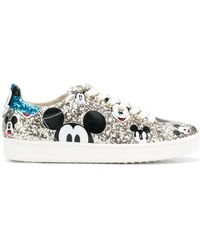 MOA - Mickey Leather Glittered Trainers - Lyst