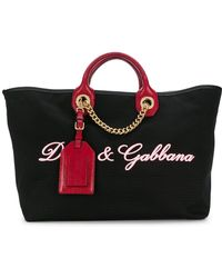 Dolce & Gabbana - Canvas And Leather Shopping Bag - Lyst