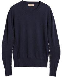 Burberry - Merino Wool Sweater With Tartan Details - Lyst