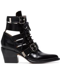 Chloé - Leather Heel Boots - Lyst