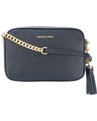 Ferragamo Medium Ginny Fleur Bleu Saffiano Leather Shoulder Bag in ... 368f2ecde844b