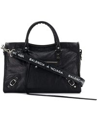 bf89cf04d Balenciaga Classic City Mini Crocodile-effect Leather Bag in Black ...