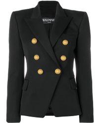 Balmain - Double Breasted Wool Blazer - Lyst