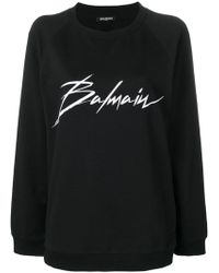 Balmain - Cotton Sweatshirt With Logo Print - Lyst