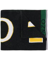 KENZO - Logo Print Cotton Scarf - Lyst