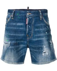 DSquared² - Paint Splatter Effect Denim Shorts - Lyst