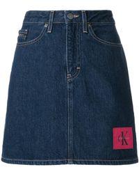 Calvin Klein Jeans - Logo Denim Skirt - Lyst