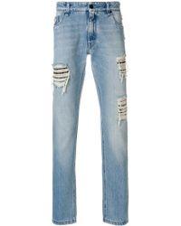 Fendi - Distressed Patch Jeans - Lyst