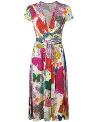 Ultrachic - Dress With Butterfly Multicolor Print - Lyst