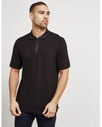 Armani - Mens Zip Polo Shirt Black - Lyst