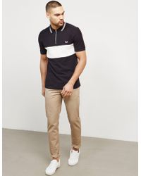 Fred Perry - Mens Textured Panel Zip Short Sleeve Polo Shirt Black - Lyst