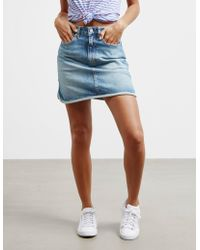 Calvin Klein - Womens Denim Mini Skirt Blue - Lyst