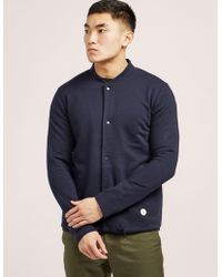 Folk - Mens Jersey Fleece Bomber - Online Exclusive Navy Blue - Lyst