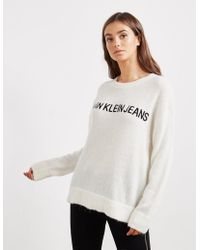 Calvin Klein - Womens Logo Crew Jumper White - Lyst