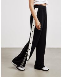 Karl Lagerfeld - Womens Wide Leg Popper Trousers Black - Lyst