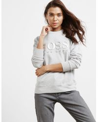 BOSS - Womens 3d Logo Sweatshirt - Online Exclusive Grey - Lyst