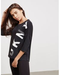 DKNY - Womens Logo Three Quarter Sleeve T-shirt Black - Lyst