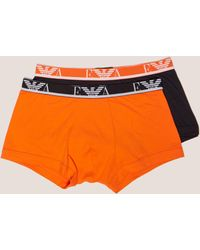 Emporio Armani - Mens 2-pack Boxer Shorts Orange - Lyst