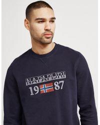 Napapijri | Mens Berthow Crew Sweatshirt Navy | Lyst