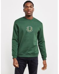 Fred Perry - Mens Global Branded Sweatshirt Green - Lyst