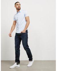 Emporio Armani   Mens Basic Poplin Short Sleeve Shirt Blue/blue   Lyst