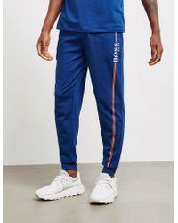 BOSS - Authentic Cuffed Fleece Trousers Blue - Lyst