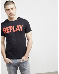 Replay - Mens Logo Short Sleeve T-shirt Black - Lyst