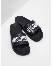 Love Moschino - Mens Logo Strap Slides Black - Lyst