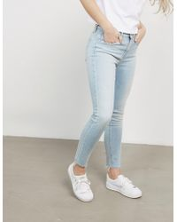 Calvin Klein - Womens High Rise Ankle Distressed Skinny Jeans Blue - Lyst