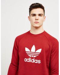 adidas Originals - Mens Trefoil Crew Sweatshirt Rust Red/white - Lyst